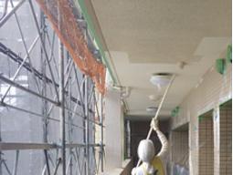 外廊下塗装施工状況